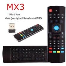 Ratón inalámbrico MX3 de 2,4G, Control remoto por voz, RF, IR, aprendizaje, fly Mouse, MX3, full HD, H.265, Android