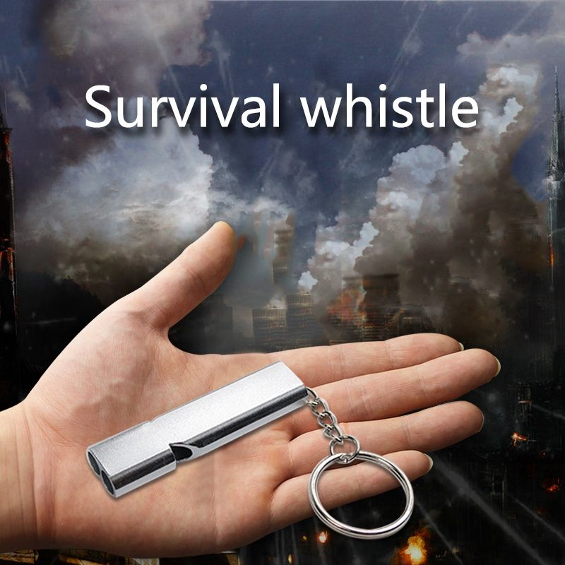 High Quality Outdoor Camping Hiking Double Frequency Whistling Self-defense Survival Whistle Tool Essential Supplies Silver