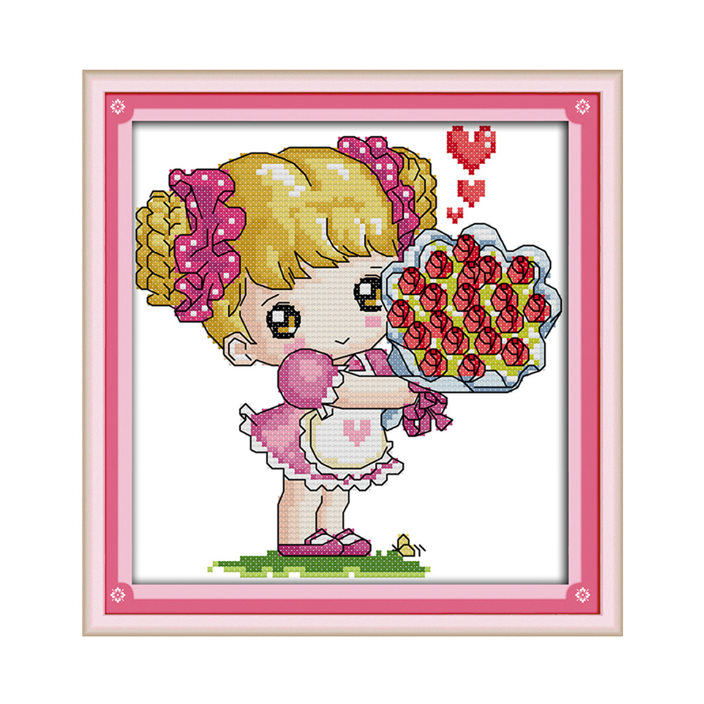 4 57 50 De Réduction La Fleur Fille Kit De Point De Croix Motif Simple Facile Pour Débutant Aida 14ct Couture Broderie Couture à La Main Travaux