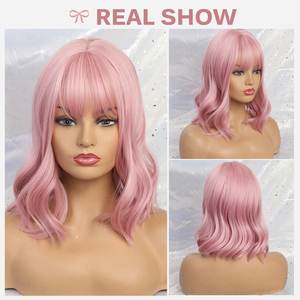 Image 4 - JONRENAU באיכות גבוהה קצר טבעי גל שיער סינטטי פאות עם פוני מסודר לנשים ורוד בז חום 3 צבעים עבור לבחור