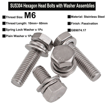 3Pcs M6x10mm~60mm SUS304 Stainless Steel Hexagon Head Bolt Single Coil Spring Lock Washer and Plain Washer Assemblies GB 9074.17