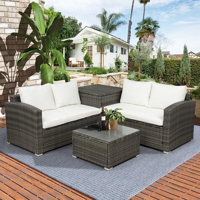 4 PCS Outdoor Cushioned PE Rattan Wicker Sectional Sofa Set 1