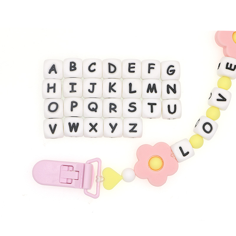 Kovict 50/100/200/500/1000PCS Letter Silicone Beads 12mm Baby Teether Beads Chewing Alphabet Bead For Personalized Name DIY