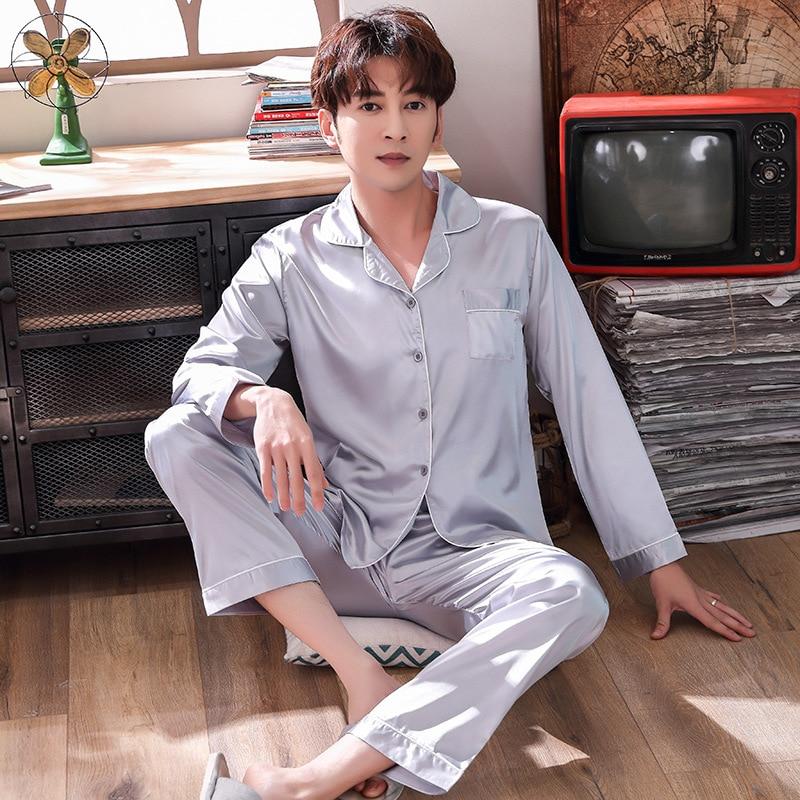 Атласная весна лето новый мужской пижамы 2шт комплект пижамы рубашки и брюки домашней одежды пижамы шелковистой интимное белье
