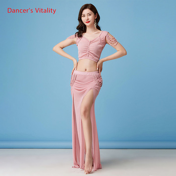 Belly Dance Suit New Summer Female Temperament Top Practice Clothes Profession Sexy Mesh Long Skirt Training Clothing 4