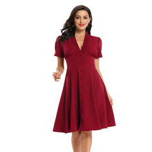 2020 Women Summer Elegant Vintage Solid Button Tunic Wear To Work Office Casual Party Fit and Flare Swing A-Line Skater Dress цена и фото