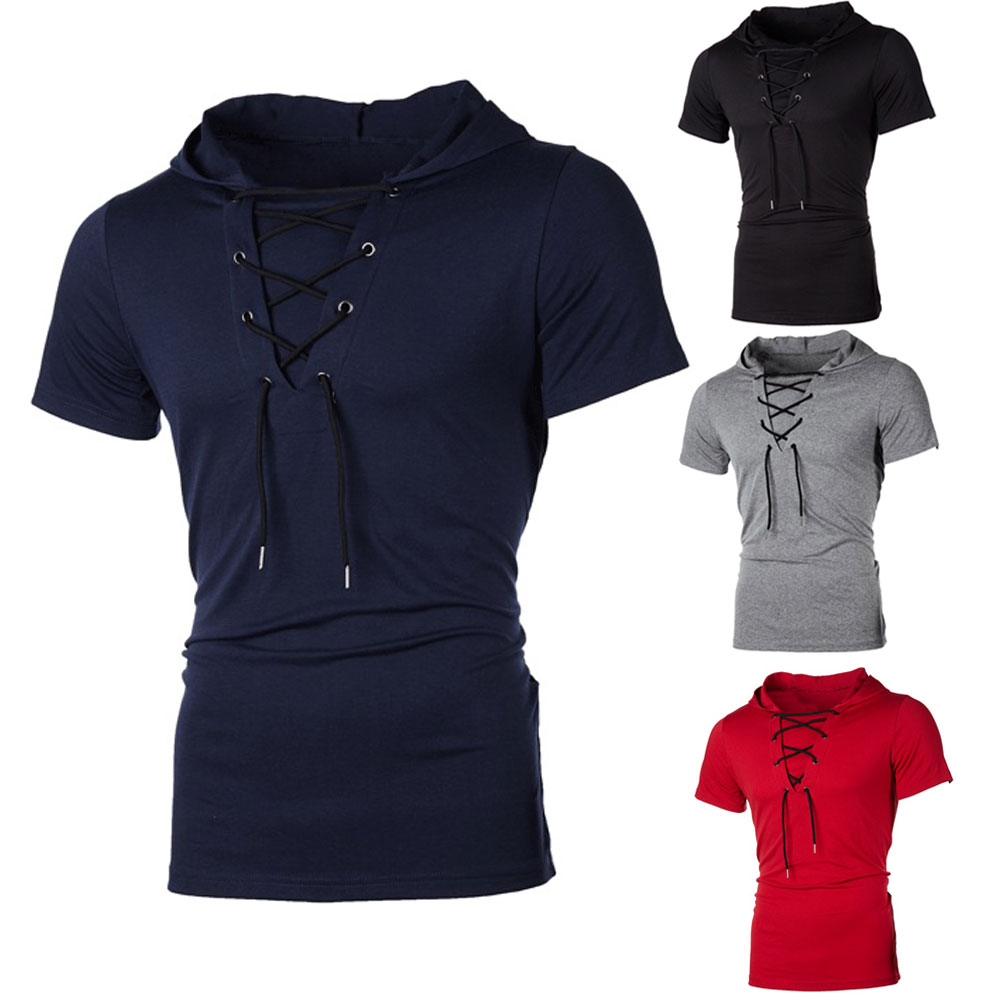 Hdbc35ed7c50846d585fde2c486a0cc862 New Men Hoodies Short Sleeve Slim Solid Hip-hop Fitness Workout Gym Hooded Tee Muscle Sweatshirts arrival Summer Casual Top Hot