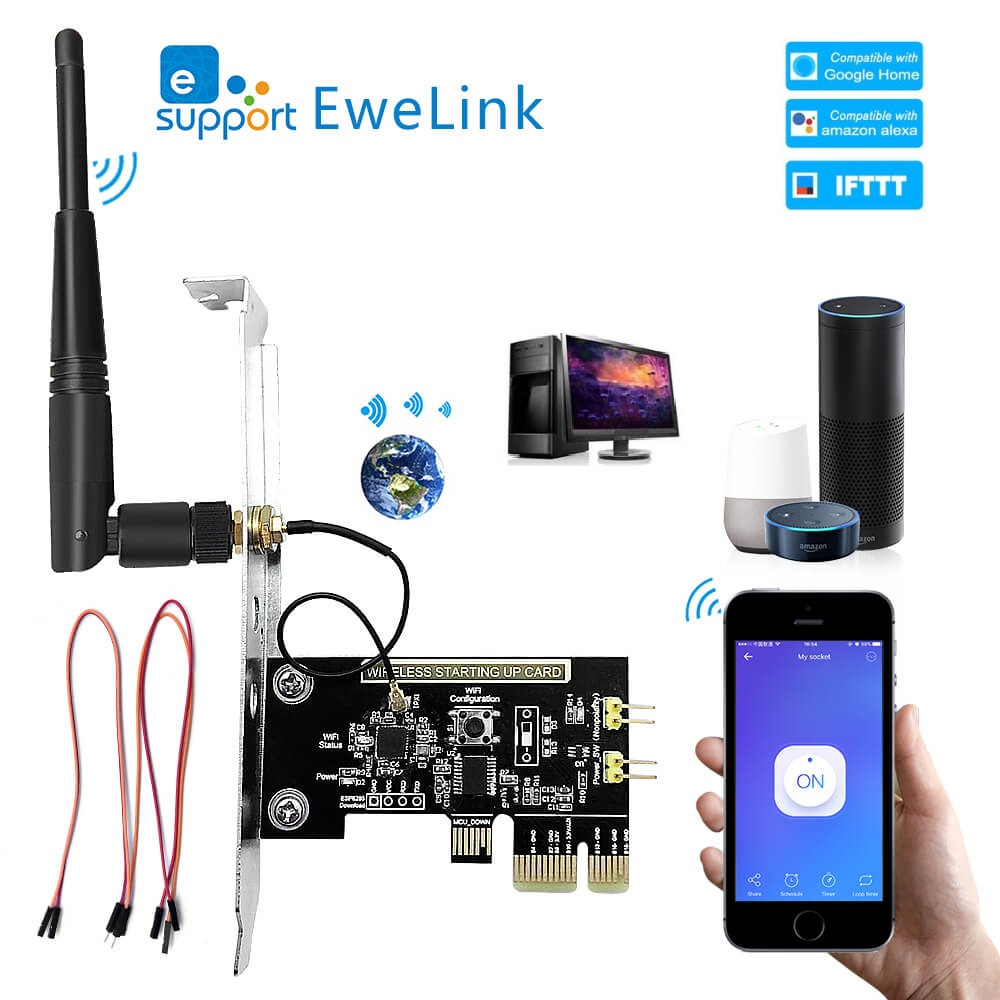 EWeLink WiFi Wireless Smart Switch Relay Module Mini PCI-e Desktop Switch Card Restart Switch Turn On/OFF PC Remote Control
