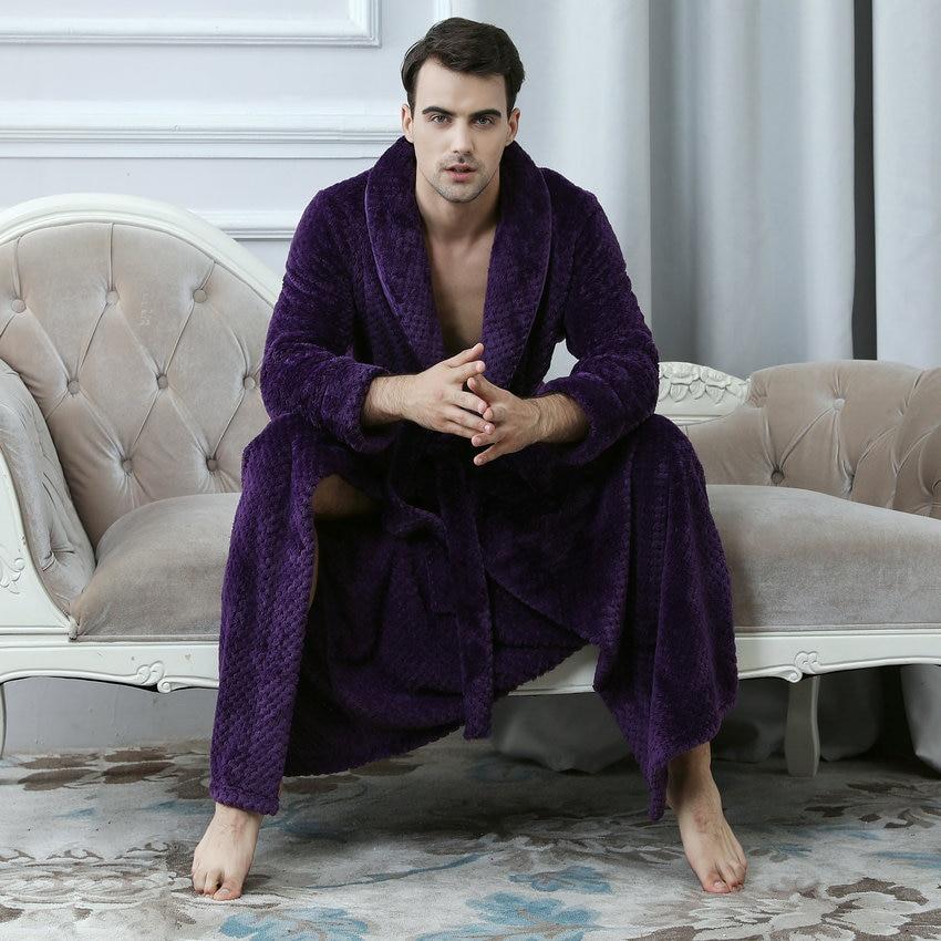 Soft Warm Coral Fleece Robes Man Long Shawl Collar Flannel Nightgowns Male Thick Velvet Belt Tied Waist Lounge Wear Men's Sleep
