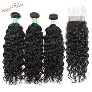 Image 1 - AngelGrace Hair Water Wave Bundles With Closure Remy Human Hair 3 Bundles With Closure Brazilian Hair Weave Bundles With Closure