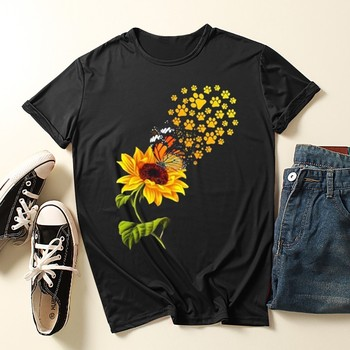 Summer Tops Tees T-Shirt Short Sleeve Ladies O-Neck Sunflower Print Tee Tops Tshirt Blusas майка женская