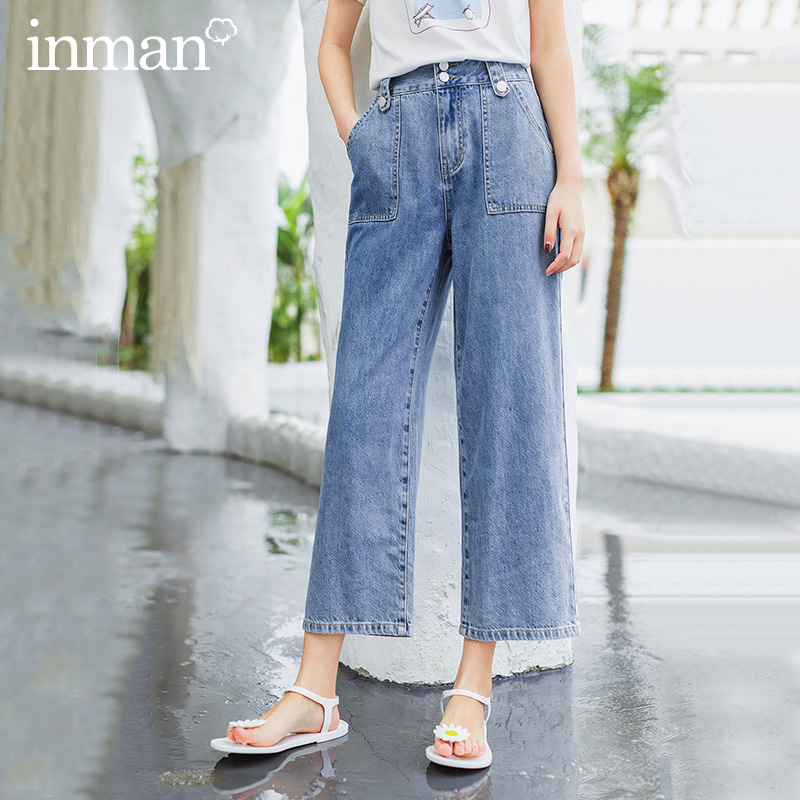 INMAN Summer New Arrival Mid High Waist Dubble Breasted Fashion Oversize Straight Shape Jeans Pant