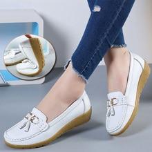 Zapatos planos de Ballet para mujer, mocasines transpirables de cuero recortados, zapatos náuticos para mujer, zapatos informales de bailarina para mujer