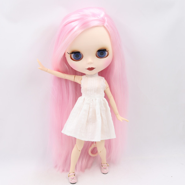 ICY Fortune Days factory blyth doll New matte face  white skin 1/6 joint body Pink hair DIY sd gift toy