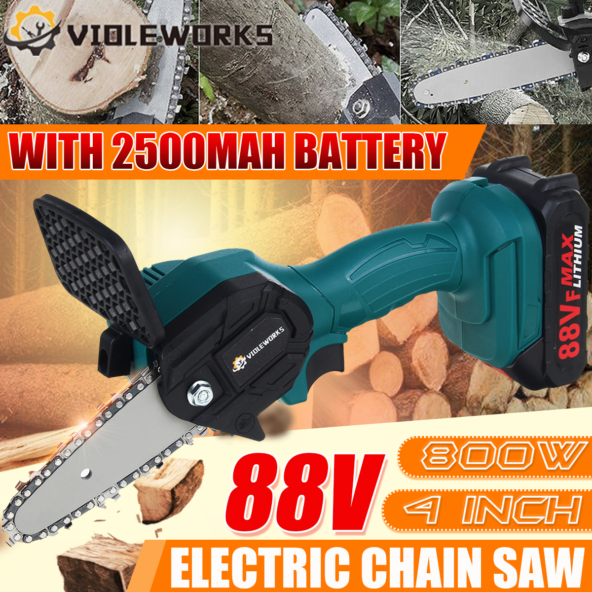 88V 800W Electric Chain Saw Lithium Battery Mini Pruning One-handed Garden Tool With Chain Saws Rechargeable Woodworking Tool