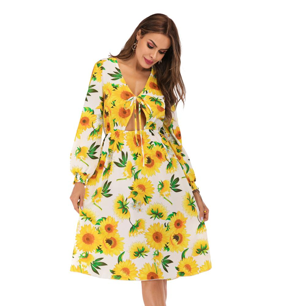 <font><b>Yellow</b></font> Bandage <font><b>Dress</b></font> Women <font><b>Sunflower</b></font> Summer <font><b>Dress</b></font> Woman Long Sleeve V-neck Sexy <font><b>Dresses</b></font> Ladies Elegant Sundress 2020 Vestidos image