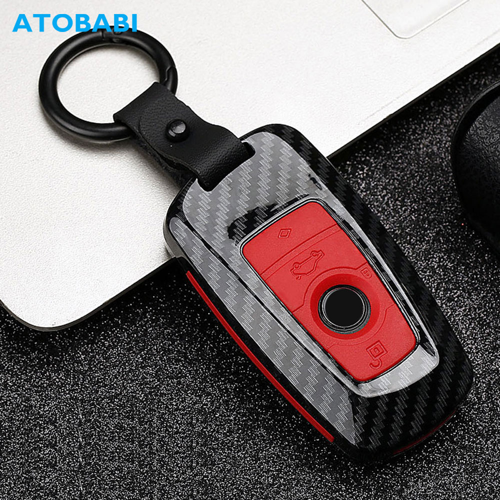 Carbon Car Key Case For <font><b>BMW</b></font> 3 5 6 X1 M1 GT F20 F10 <font><b>F30</b></font> 520 525 520I 530D E34 E46 E60 E90 <font><b>Keychain</b></font> Bag Remote Fob Protector Cover image