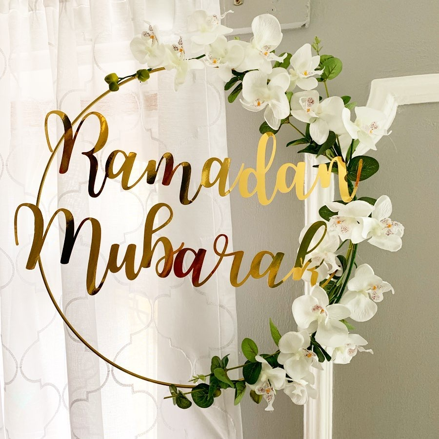 New Eid Mubarak Ramadan Kareem Decoration Moon Star DIY Pendant Hanging Artificial Flower Wreath Holiday Party Decoration