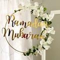 New Eid Mubarak Ramadan Kareem Decoration Moon Star DIY Pendant Hanging Artificial Flower Wreath Holiday Party Decoration