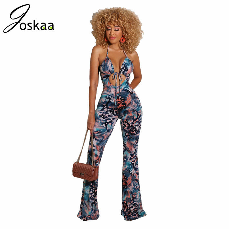 Joskaa 2020 Women's jumpsuits Summer Sexy Backless spaghetti straps hollow out Tight one piece Tie-Dye romper Printing Strap image