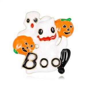 Halloween Hot Sale Ghost Pumpkin head Brooches Pin Enamel Pin Denim Shirt Lapel Pin Badge Fashion Party Jewelry For Kids AL441