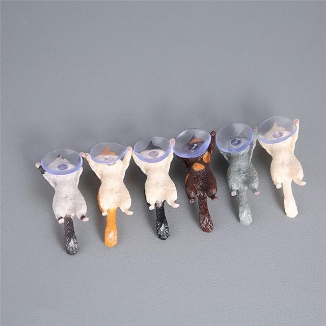 1pc Cat Figurine Miniature Cat Sucker Design Phone Holder mini fairy garden Cartoon statue craft Home Car Decorative 4