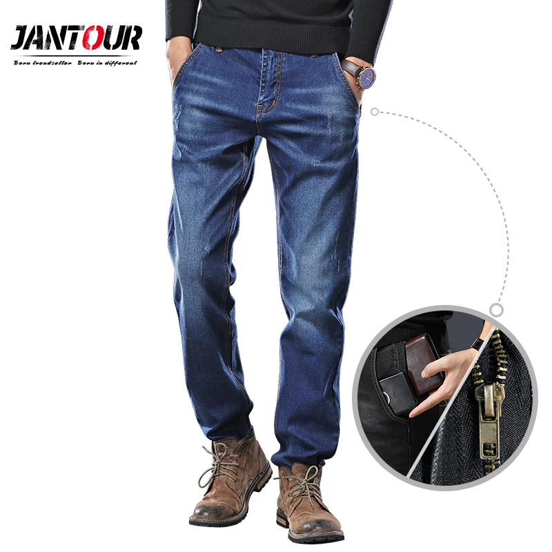 Jantour 2019 New Brand Men's Jeans Fashion Men Pocket zipper Casual Slim Straight Stretch Jean Men Big Size 28 40 42 44 46 48-in Jeans from Men's Clothing on AliExpress - 11.11_Double 11_Singles' Day 1
