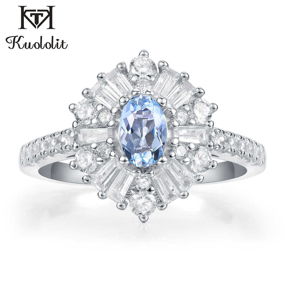 Kuololit Aquamarine Gemstone Rings For Women Solid 925 Sterling Silver Jewelry Hexagon Ring Engagement Party Gifts Fine Jewelry