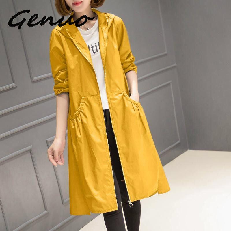 2019 Spring Autumn New Korean Casual Windbreaker Ladies Vintage loose Large Size thin Long   Trench   Coat for Women Hooded Top