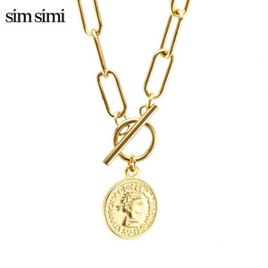 Золотое винтажное ожерелье с гравировкой из нержавеющей стали с длинной круглой цепочкой, медаль, Женское Ожерелье