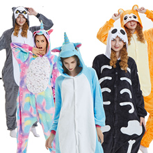 Women Animal Pajamas Flannel Sleep Lounge Adults Sleepwear Kigurumi Cu