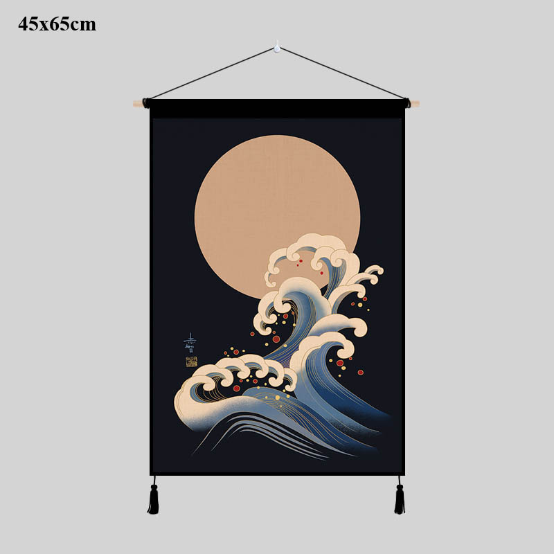 Creative Japan Ukiyoe Canvas Poster Wall Picture Scroll Hanging Painting 2Pcs A