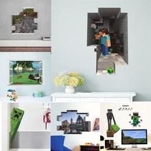 3d steve e creeper jogo adesivos de parede para sala de crianças adesivos de parede sala de jogos quarto dos miúdos do menino arte da parede decalques cartaz