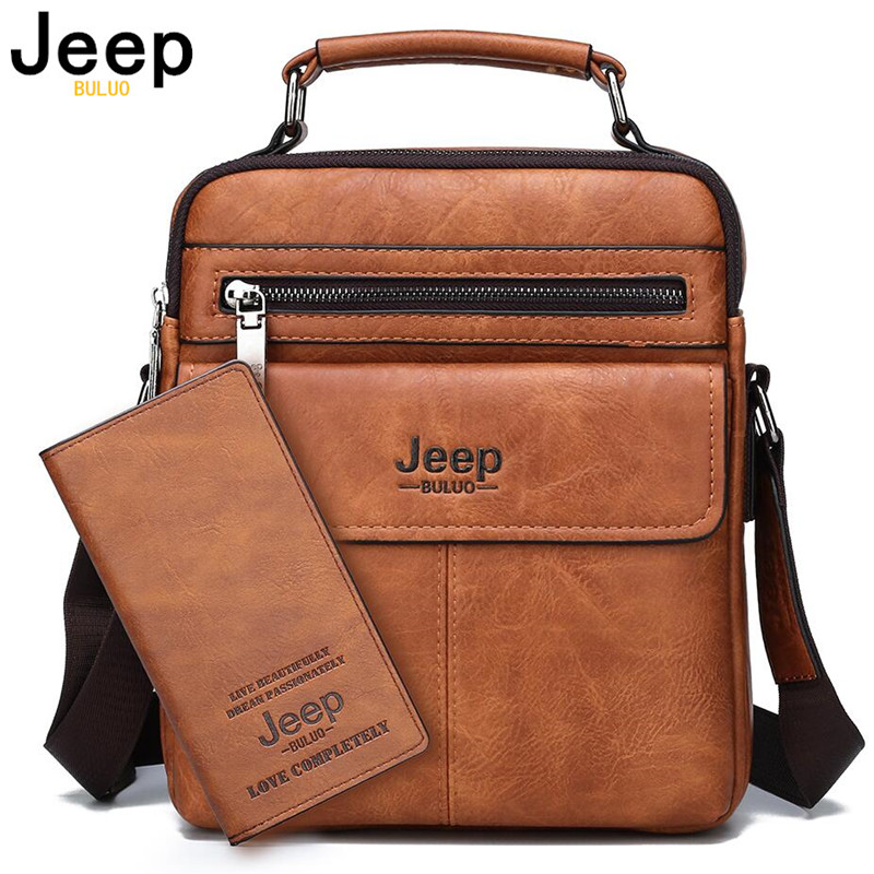 JEEP BULUO Brand Men's Crossbody Shoulder Bags High quality Tote Fashion Business Man Messenger Bag Big Size Split Leather Bags