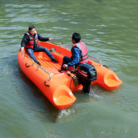 3.5m Orange Double Hard PE Plastic Boat Fishing Boat Ship Simple Boat Kayak Water Sports Assault Ship