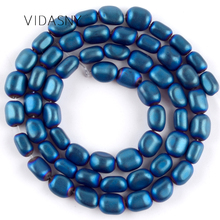 Natural Stone Beads Dull Polished Blue Hematite Oval Shape Spacer Beads For Jewelry Making Diy Bracelet Necklace 5-8mm 15'' natural stone chrysocolla approx 14x16mm oval shape loose beads approx 39cm diy jewelry making bracelet necklace