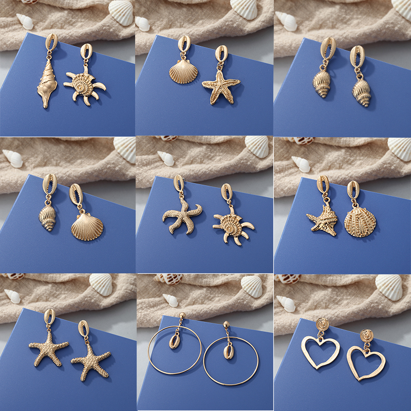 2019 Metal Earrings Bohemian Alloy Shell Starfish Sexy Minimalist Women 39 s Earrings for Jewelry Gift Wholesale New Products Hot in Drop Earrings from Jewelry amp Accessories