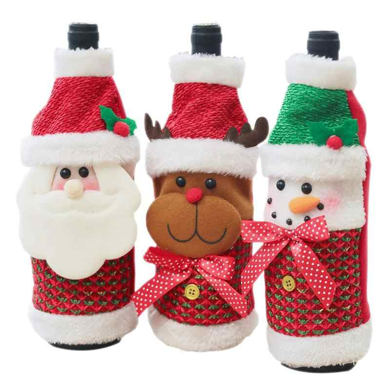 Christmas Red Wine Bottle Cover Decor Set Various Specifications Optional Practical for New Year Kitchen Dinner Home Party