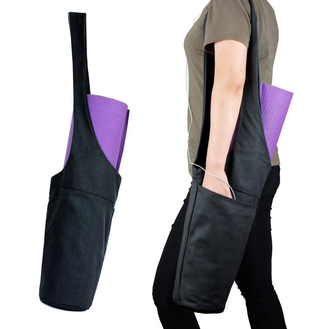 Portable Yoga Mat Bag Solid Color Canvas Yoga Pads Storage None Bag It Is Lightweight, Portable And Washable.