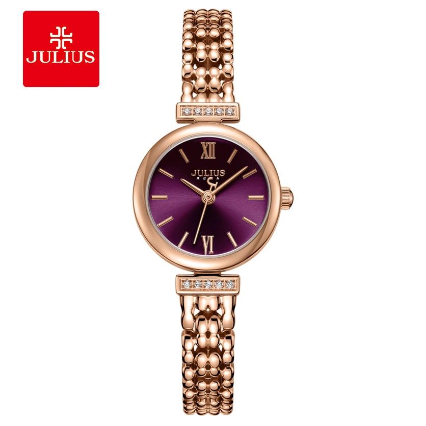 Juliusi Women Stainless Steel Bracelet Watch Simple Sun Pattern Dial Quartz Watch Fashion Casual Waterproof Wristwatch Female