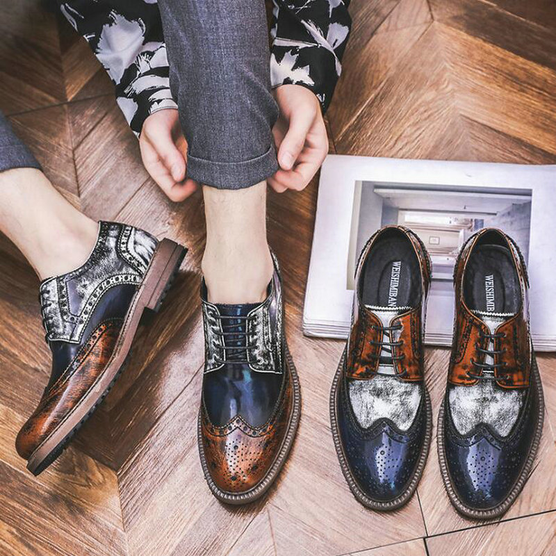 Men Mixed Colors Fashion Dress Leather Shoes Lace-Up Wedding Party Shoes Mens Brogue Business Office Oxfords Flats  A57-09