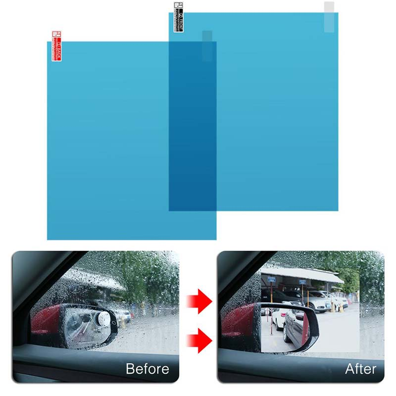 New 1 Pair Auto Car Anti Water Mist Film Anti Fog Coating Rainproof Hydrophobic Rearview Mirror Protective Film 4 Sizes