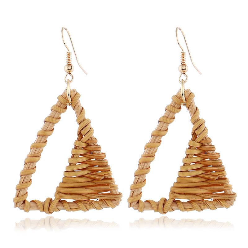 Bohemian Wicker Rattan Knit Pendant Earrings Handmade Wood Vine Weave Geometry Round Statement Long Earrings for Women Jewelry 32