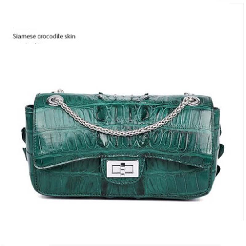 moben crocodile leather women bag  female  Single shoulder bag  women chain bag  Female bag  aslant  Small women flap  women bag