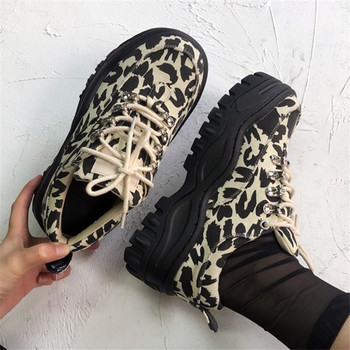 Fashion Leopard Print Women Sneakers Lace-up Platform Creepers Casual Flat Canvas Shoes Woman Tenis Feminino Flats Trainers