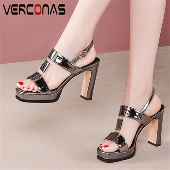 VERCONAS 2020 Fashion Woman Sandals Woman Pumps Classic Design Genuine Leather Ankle Strap Square Toe Square Heeled Shoes Woman