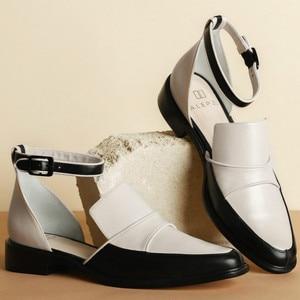 Image 2 - Женские босоножки с ремешком на щиколотке SWYIVY, черные/белые повседневные туфли размера плюс 34 43, лето 2019