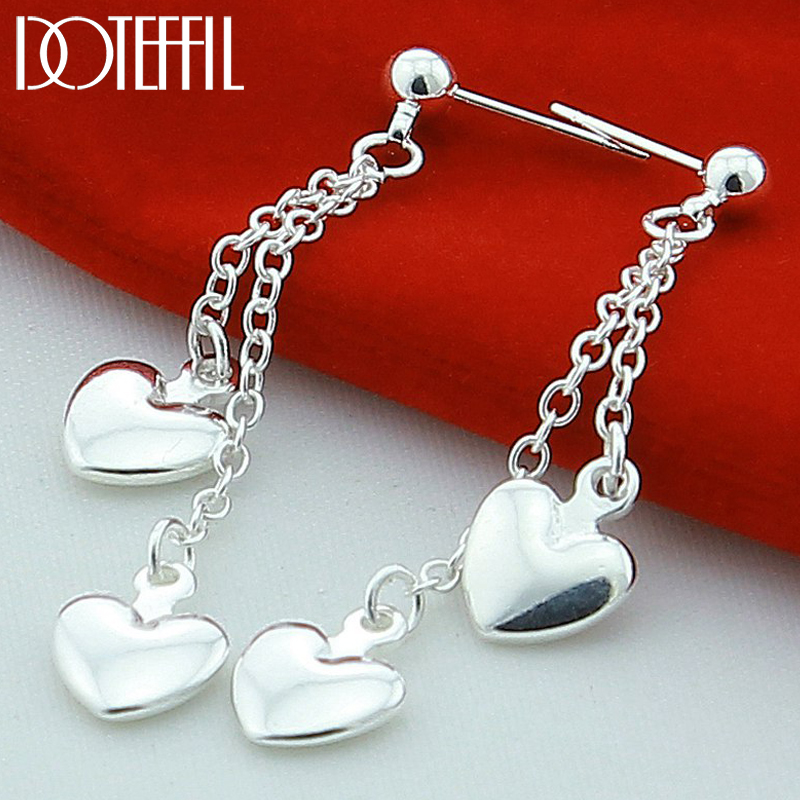 DOTEFFIL 925 Sterling Silver Solid Heart Drop Earrings For Woman Wedding Engagement Fashion Party Charm Jewelry