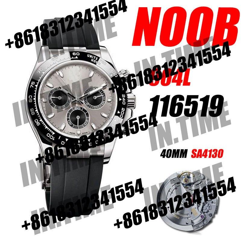 Мужские Роскошные часы Daytona хронограф 116519 Noob 1:1 лучшее издание 904L SS Чехол Серый Циферблат резиновый ремешок 12,5 мм SA4130 V3