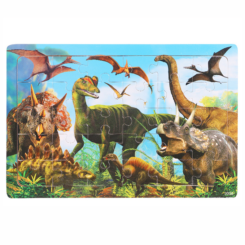 30 комплектов/партия, Животные Динозавр деревянные головоломки детей дошкольного возраста Детские пазлы с мультяшным изображением Обучающ...